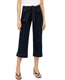 INC Tie-Waist Culotte Jeans, Created for Macy's
