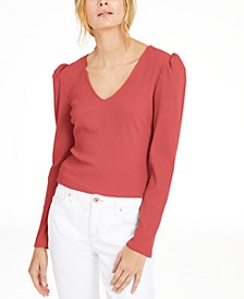 INC Ribbed Puff-Sleeve Top, Created For Macy's