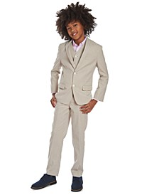 Big Boys Textured Dot Dress Shirt & Subtle Pinstripe Heather Suit Separates
