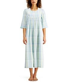 Plaid Seersucker Long Zipper Robe