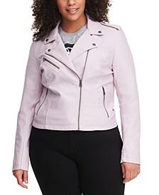 Plus Size Trendy Faux Leather Moto Jacket