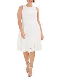 Plus Size Lace-Detail Fit & Flare Dress