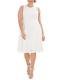 Calvin Klein Plus Size Lace-Detail Fit & Flare Dress