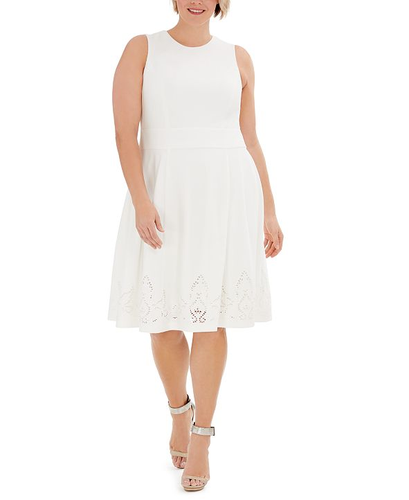 Calvin Klein Plus Size Lace-Detail Fit & Flare Dress