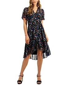 Petite Floral-Print Wrap-Style Dress
