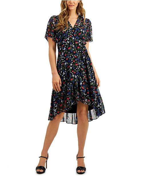 Calvin Klein Petite Floral-Print Wrap-Style Dress