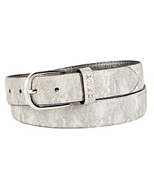 Metallic Snake-Embossed Belt