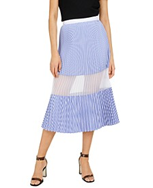Pleated Mesh Panel Skirt