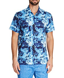 Men's Slim Fit Short-Sleeve Tropical Camp 4-Way Stretch Button-Down Shirt