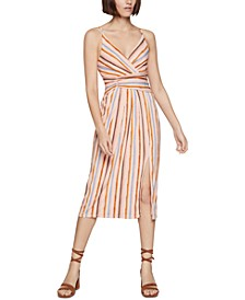 Striped Surplice Midi Dress