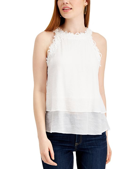 BCX Juniors' Lace-Trim Gauze Tank Top