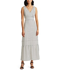 Petite Striped Tiered Crepe Dress
