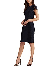 Petite Jersey-Lace Cocktail Dress