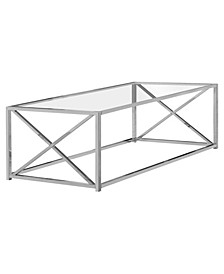 """Coffee Table - 44"""" L Chrome with Tempered Glass"""
