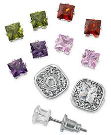 Fine Silver Plate Cubic Zirconia Interchangeable Colored Stone Earring Set