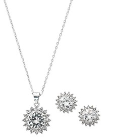 "Fine Silver Plate Cubic Zirconia Teardrop Necklace and Stud Earring Set, 18"" + 3"" extender"