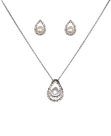 "Fine Silver Plate Cubic Zirconia and Pearl Teardrop Necklace and Stud Earring Set, 18"" + 3"" extender"
