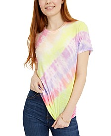 Juniors' Printed Diagonal Tie-Dye T-Shirt