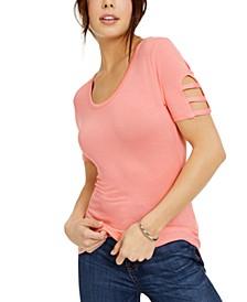 Juniors' Cutout Sleeve T-Shirt