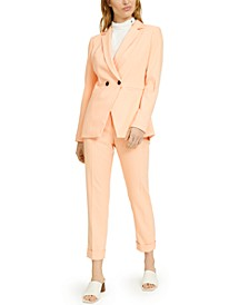 X-Fit Slim-Fit Double-Breasted Jacket, Pleat-Body Blouse & Slim-Fit Pants