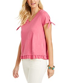 Petite Tie-Cuff Ruffled Top, Created for Macy's