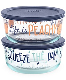 Decorated 4-Pc. Squeeze The Day Food Storage Container Set