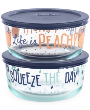 Pyrex Decorated 4-Pc. Squeeze The Day Food Storage Container Set