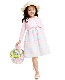Little Girls 2-Pc. Shrug & Embroidered Rainbow-Stripe Dress Set