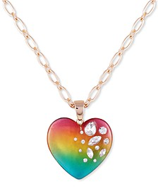 "Crystal-Frosted Heart Pendant Necklace, 30"" + 2"" extender"