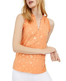 Paisley-Foil Tank Top, Regular & Petite