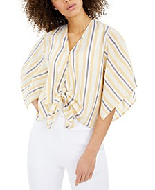 Striped Flutter-Sleeve Tie-Front Top