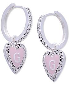 Silver-Tone Pink Crystal Heart Huggie Hoop Earrings