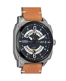 Men's Hawker Hunter Quartz Day Date Cockpit Edition Brown Genuine Leather Strap Watch 45mm
