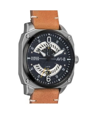 Men's Hawker Hunter Quartz Day Date Cockpit Edition Brown Genuine Leather Strap Watch 45mm
