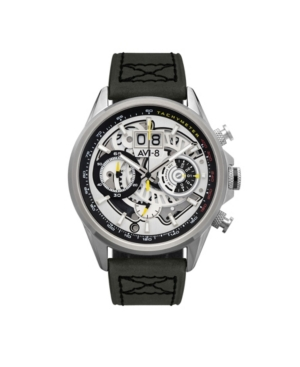 Men's Hawker Harrier Ii Retrograde Chronograph Matador Edition Green Genuine Leather Strap Watch 45mm