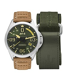 Men's P-51 Mustang Automatc Bottisham Edition Gift Set with Tan Genuine Leather Strap Watch 43mm and Additional Green Nylon Canvas Strap