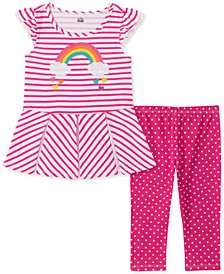 Baby Girls Striped Tunic Dot Print Legging Set