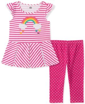 Kids Headquarters Baby Girls Striped Tunic Dot Print Legging Set