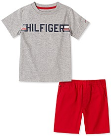 Baby Boys 2-Pc. Logo T-Shirt & Twill Shorts Set