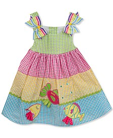 Baby Girls Tiered Rainbow Gingham Seersucker Dress
