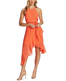 Flocked Ruffled Asymmetrical Dress
