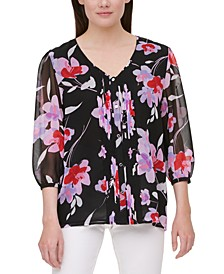 Floral-Print Tuxedo-Pleated Blouse