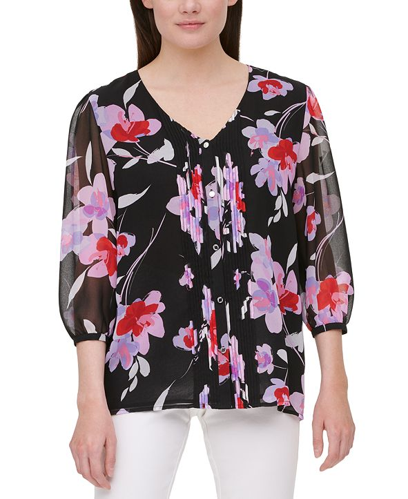 Calvin Klein Floral-Print Tuxedo-Pleated Blouse
