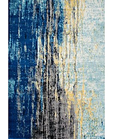 """Bodrum Vintage-Inspired Abstract Waterfall Blue 6'7"""" x 9' Area Rug"""
