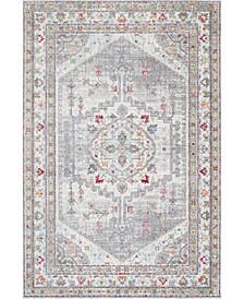 """Vivid Silk Pandora Persian Distessed Gray 5'3"""" x 7'7"""" Area Rug"""
