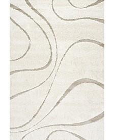 "Pattern Shag Cozy Soft and Plush Caroyln Cream 6'7"" x 9' Area Rug"