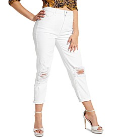 Distressed High-Rise Cropped Jeans