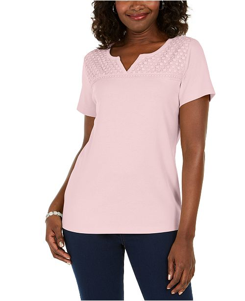 Karen Scott Crochet-Trim Split-Neck Top, Created for Macy's