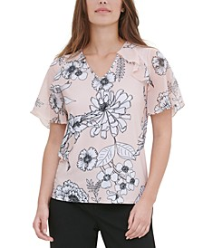 Printed Ruffle-Trim Top