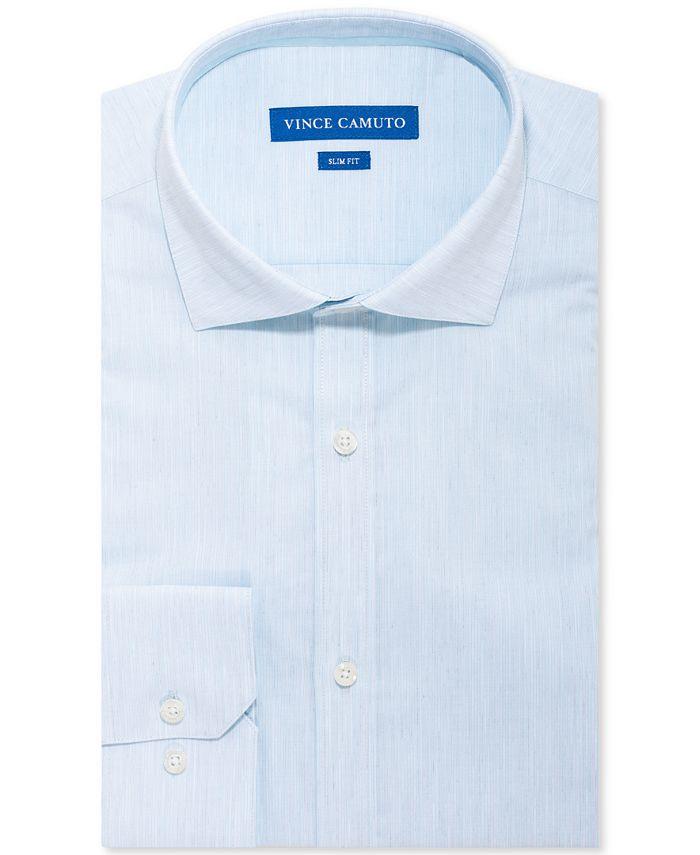 Vince Camuto - Men's Slim-Fit Performance Stretch Seafoam Textured Stripe Dress Shirt